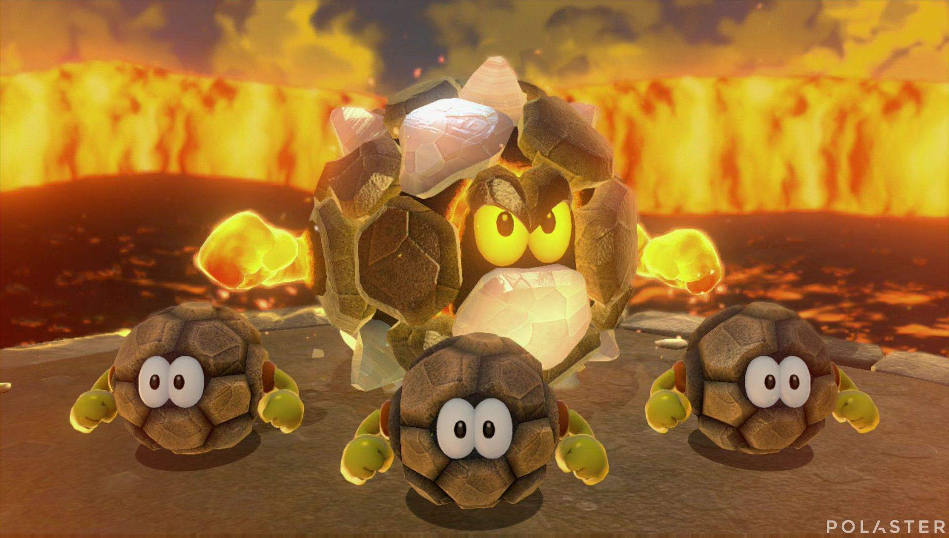 Super Mario 3D World Mundo 4-Castillo Jefe Rey Rocorrodón