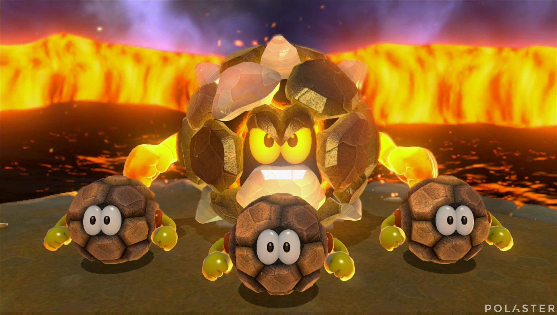 Super Mario 3D World Mundo Flor-12 Jefe Rey Rocorrodón