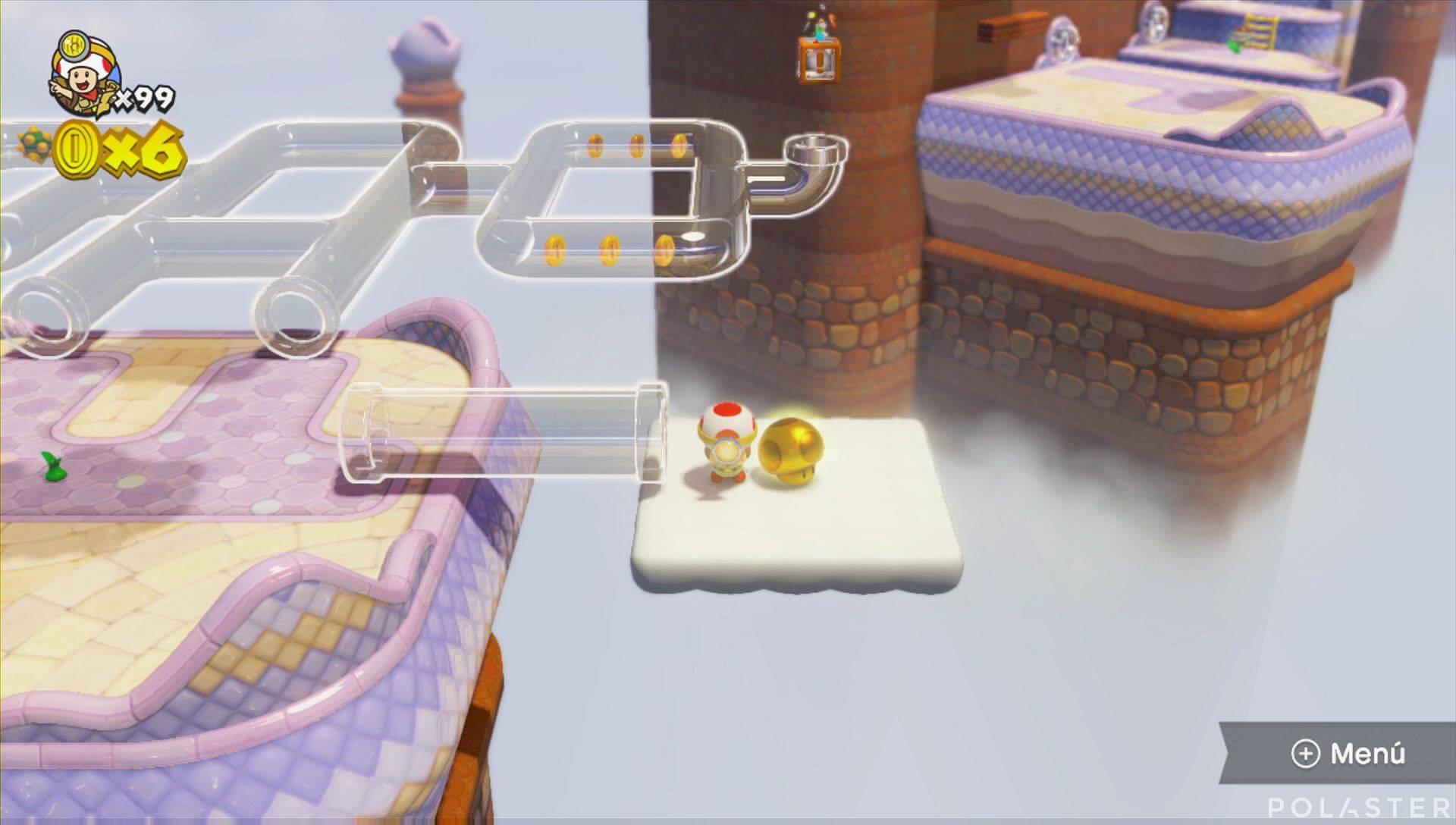 Captain Toad: Treasure Tracker Extra: La ruta de las tuberías transparentes Champiñón dorado